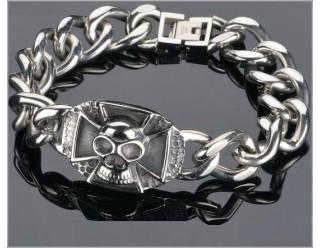 Браслет байкер. стальной, крупная цепь, череп с крестом,  21,5 или 22  см