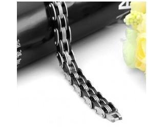 Браслет байкерский стальной (SMT0176) (звенья переплетаются между собой)