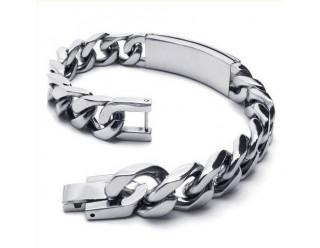 Браслет байкерский стальной (SMT0142) (в форме цепи с металлической пластиной)