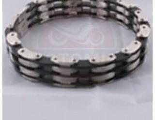 Браслет байкерский стальной (SMT0147) (с черно-белыми трехярусными звеньями)
