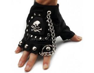 Перчатки байкерские без пальцев, иск. кожа, с заклепками, черепом и цепью