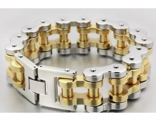 Браслет байкерский стальной (CXSBL0409) (с золотыми звеньями в виде столбиков)