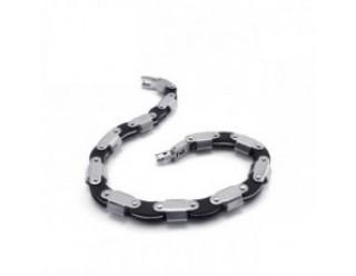 Браслет байкерский стальной (SMT0199) (типа браслет для часов, серебренный с черным)