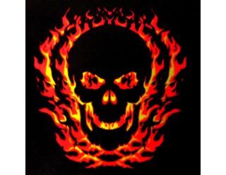 Платок байкерский универсальный (квадратной формы) №5 (с горящим одним большим черепом 8510007)