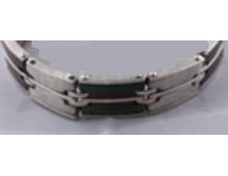 Браслет байкерский стальной (SMT0145) (с черно-белыми двухярусными звеньями)