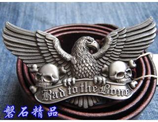 Пряжка для ремня в форме орла с раскрытыми крыльями, 2 черепов и надписи