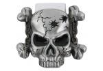 Пряжка для ремня в форме черепа с костями, со следами выстрелов от пуль на лбу