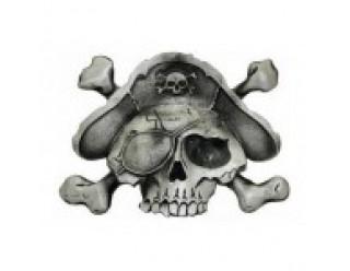 Пряжка для ремня в форме черепа с костями, пиратской шляпой и повязкой на глазе