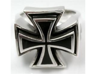 Перстень байкерский IRON CROSS (Крест, на торцах по 3 креста), 22 мм, Германия
