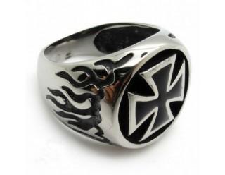 Перстень байкерский IRON CROSS (Крест, на торцах ПЛАМЯ), 22 мм, Германия