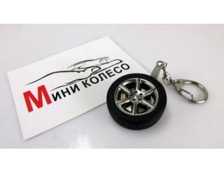 Брелок для ключей в виде крючка с карабином М006Н с колесиком мото  (2е покол. брелков), сталь+каучук