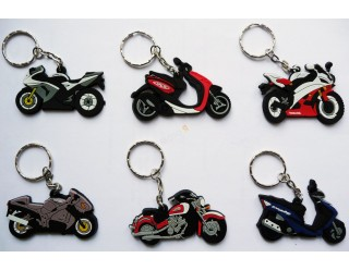 Брелок Модель мототехники (КС006), ПВХ, кроссовый мотоцикл типа Ямаха (синий с белым)