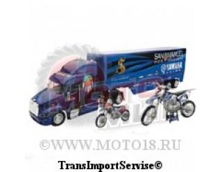 Модель грузовика YAMAHA JAMES STEWART (синий с дополнительными мотоциклами внутри) 1:32 (15-5117)