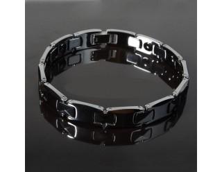 Браслет байкерский стальной (SMT0096) (плоский черный с орнаментом)