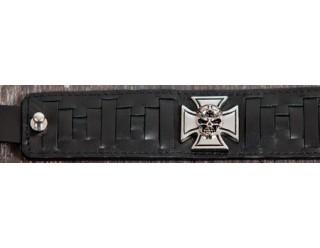 Браслет байкер. кожанный широкий IRON CROSS, с КРЕСТОМ мальтийским, 19-20 мм, черный