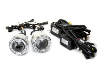 Биксенон, комплект мото Н4 СИНИЙ (линзованная лампа (с ангел.глазками), проводка, 12В, 35Вт, 6000 К)