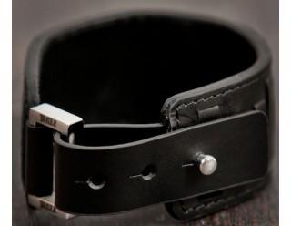 Браслет байкер. кожанный широкий IRON CROSS, с КРЕСТОМ мальтийским, 19-20 мм, коричневый