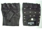 Перчатки байкерские без пальцев, иск. кожа, с заклепками