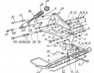 Амортизатор лыжи резиновый (113.03.000.013)